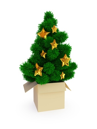 Evergreen tree in beige box. Christmas surprise concept. Isolated on white background. photo