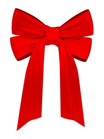 Red satin ribbon. Isolated on white background. 3d rendered. photo