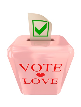Vote Love concept. Pink ballot box isolated on white background. 3d rendered. Stock Photo - 12172311
