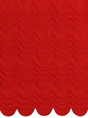Red satin curtain isolated on white background. 3d rendered. photo