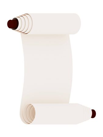 Ancient scroll. Isolated on white background. 3d rendered. Stock Photo - 12171696
