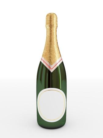 brindisi champagne: Bottiglia di champagne con label.3d vuoto reso. Isolato su sfondo bianco.