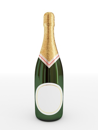 champagne flute: Bottle of champagne with empty label.3d rendered. Isolated on white background.