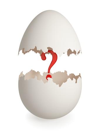 Punto interrogativo rosso all'interno di guscio d'uovo rotto. Isolato su sfondo bianco. 3D rendering.