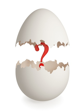 brain mysteries: Red question mark inside cracked eggshell. Isolated on white background. 3d rendered.