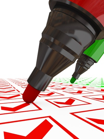 Closup of red and green marker pens. 3d rendered. Stock Photo - 12172181