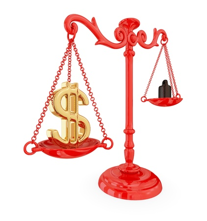 tax law: Scales of justice with dollar sign. Isolated on white.