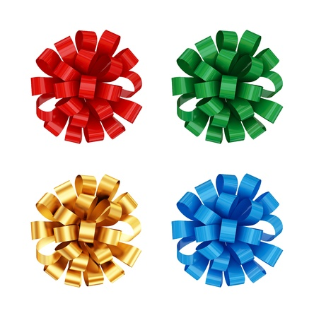 Colorful bows set. Isolated on white background. 3d rendered. photo