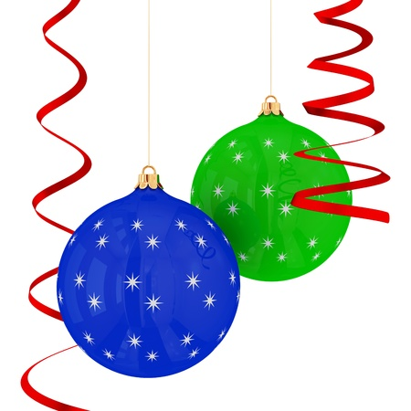 bedeck: Christmas balls hanging with red ribbons isolated on white background.3d rendered.