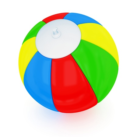 inflate: Colorful beach ball. Isolated on white background.3d rendered.