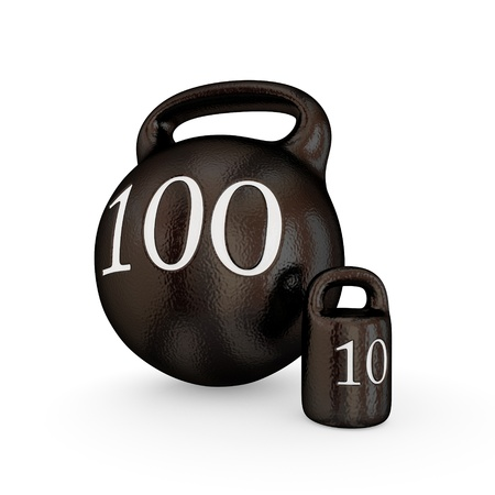kilos: Big weight and small weight concept. Isolated on white.3d rendered. Stock Photo