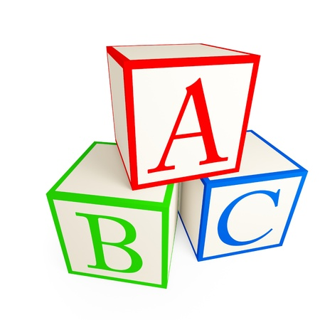 blue 3d blocks: Alphabet blocks. Isolated on a white background