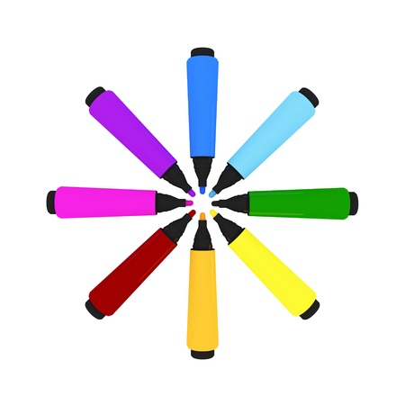Colorful marker-pens shape of a sun. Isolated on white.3d rendered. photo