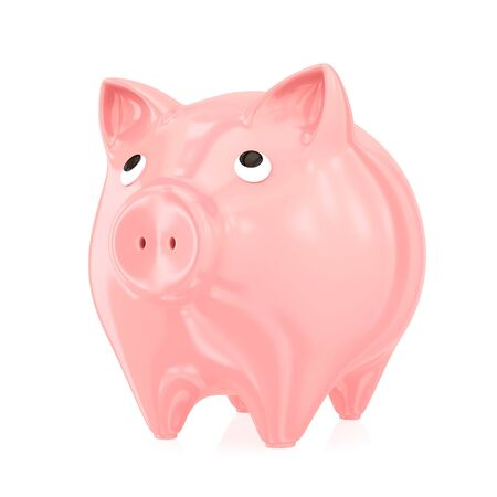 Piggy bank. Isolated on white background.3d rendered. photo