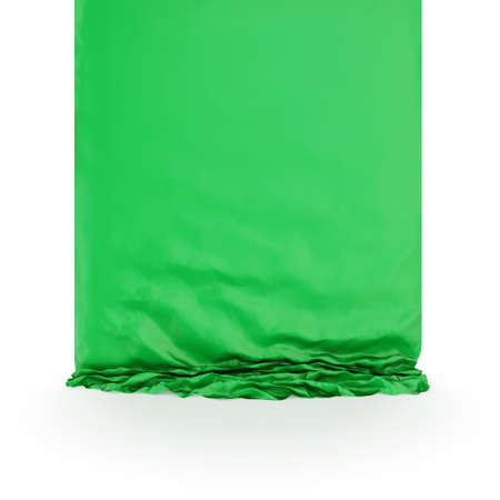 Green silk drapery. Isolated on white background.3d rendered. photo