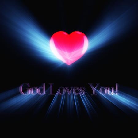 geloof hoop liefde: Glowing inscriptie God Loves You op zwarte achtergrond.
