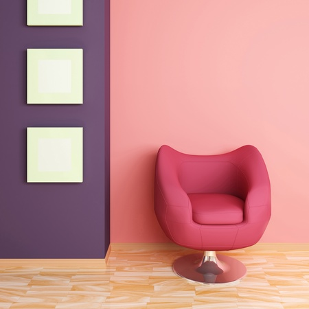 Big red armchair against pink wall and three empty pictures.Modern interior composition.3d rendered. photo