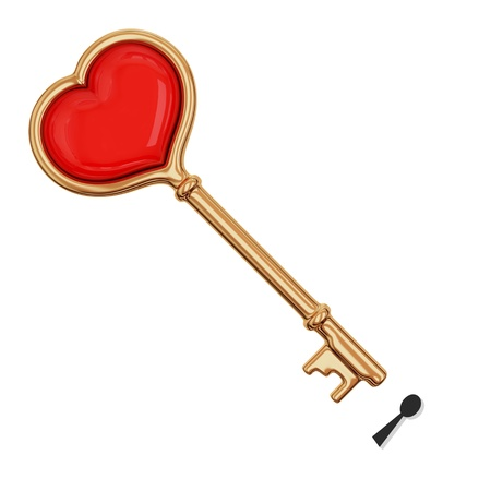 Golden key with a little heart inside. 3D rendered. Isolated on white background. photo