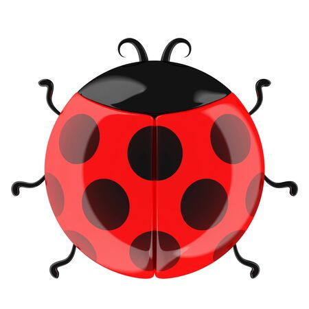 funy: Cute cartoon ladybug isolated on white.3d rendered.