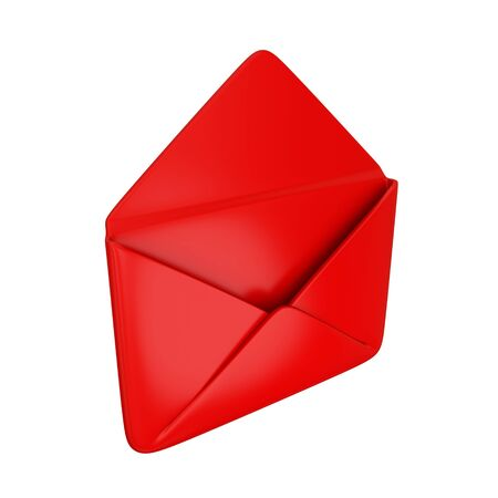 sent: Empty red cover. Isolated on white background.3d rendered.