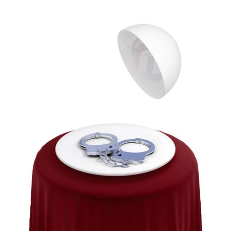 Round table with red cloth and handcuff on a white dish. Isolated on white background. 3d rendered. Stock Photo - 12217826