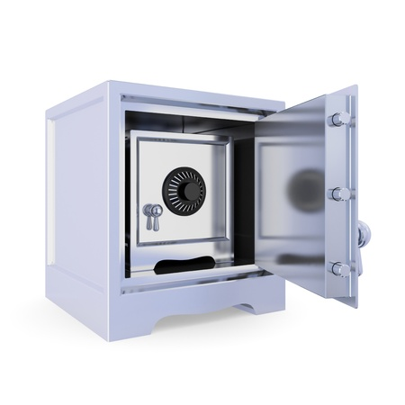 Opened iron safe and another safe inside. Double protection concept. Isolated on white background. 3d rendered. photo