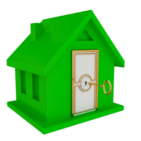 Green house with white door and vintage golden key. Isolated on white background. 3d rendered. photo