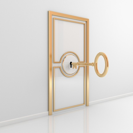 Abstract door with golden ornate frame and antique key. 3d rendered.