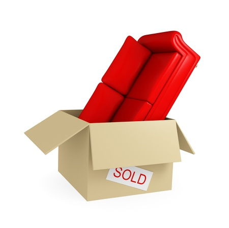 Red sofa in big cardboard box with white sticker sold. Isolated on white background. 3d rendered. Stock Photo