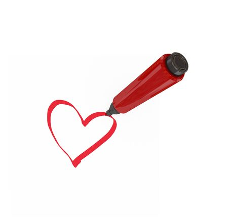 marker pen: Red marker pen drawing a heart. Isolated on white.
