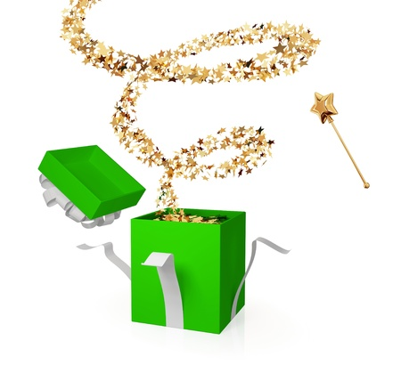 suddenness: Gift box with a golden curl. Surprise concept. Isolated on white.3d rendered.