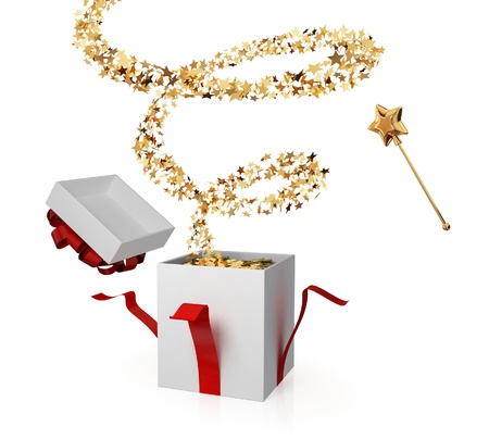 suddenness: Gift box with a magic wand and golden curl. Surprise concept. Isolated on white. Stock Photo