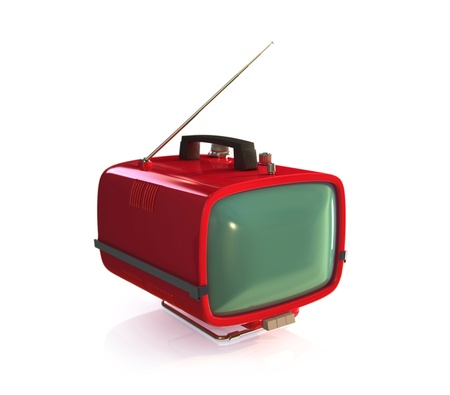 Red retro TV Set. Isolated on white background. 3d rendered. photo