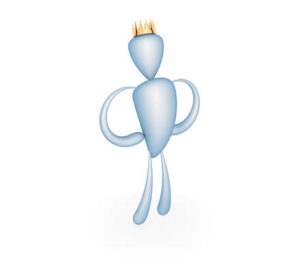 3d little man with golden crown on his head. photo