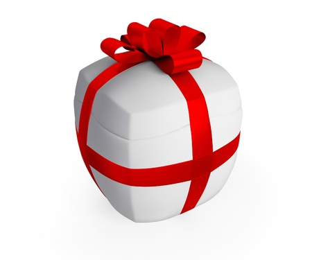 inflated: Inflated gift concept. Isolated on white background.3d rendered.