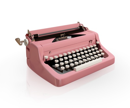 reportero: M�quina de escribir antiguas aislado en blanco background.3d prestados.