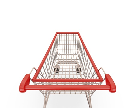 supermarket checkout: Shopping trolley isolated on white background.3d rendered.