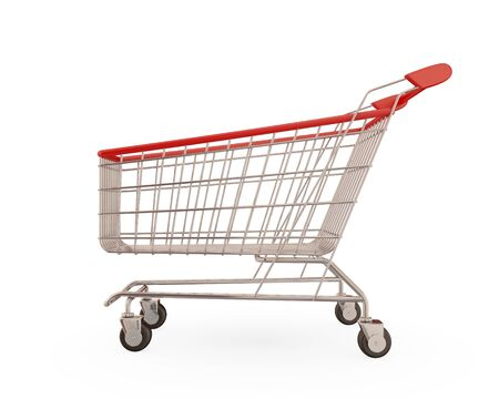 Shopping trolley isolated on white background.3d rendered. photo