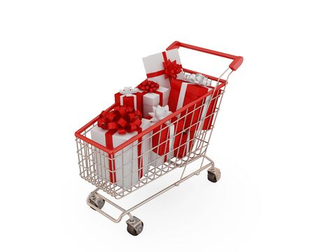isolaten: Shopping trolley with presents. Isolaten on white background. Stock Photo