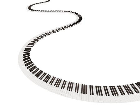 piano keyboard: Keyboard shape of way. Isolated on white background. 3d rendered. Stock Photo