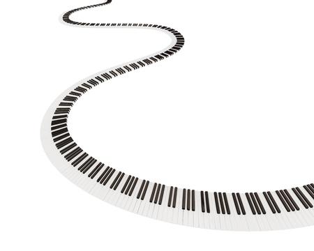 teclado de piano: Teclado forma de camino. Aislado sobre fondo blanco. 3d rindi�.