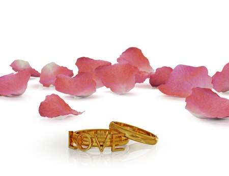 Valentines rings concept. Isolated on white.3d rendered. photo