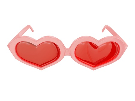 Pink heart-shaped glasses . Isolated on white background. Stock Photo - 12171264