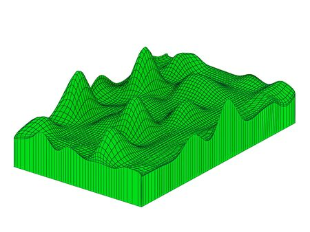 topographical: Topographical 3d map. Isolated on white background. Stock Photo