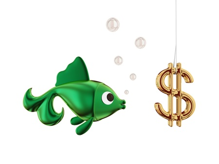 Dollar bait on a hook and a fish.Isolated on white.3d rendered. photo