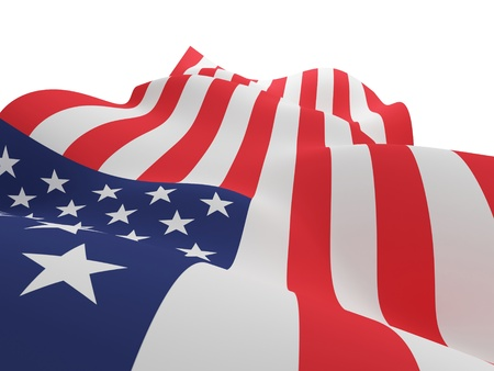 memorials: USA flag. 3d rendered. Isolated on white background.