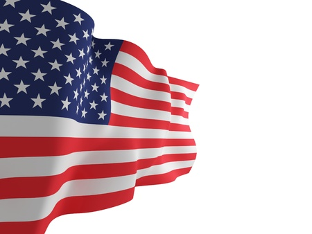 USA flag. 3d rendered. Isolated on white background.