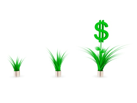 diversified: Dollar plants. Earnings growth concept.Isolated on white.3d rendered.