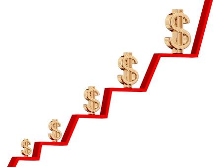 ertrag: Das Gewinnwachstum Diagramm Konzept. Isoliert auf white.3d gerendert. Lizenzfreie Bilder