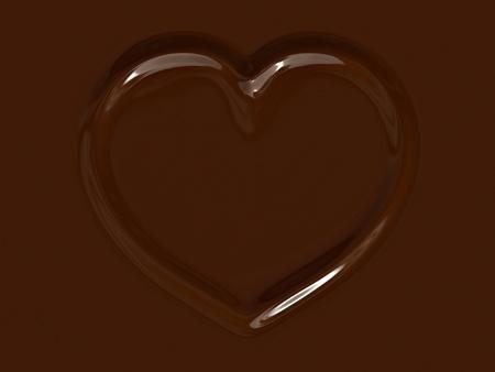 Milk chocolate heart.3d rendered illustration for graphic design. illustration